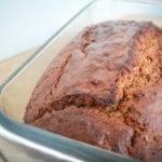 Sweet potato bread in glass loaf pan