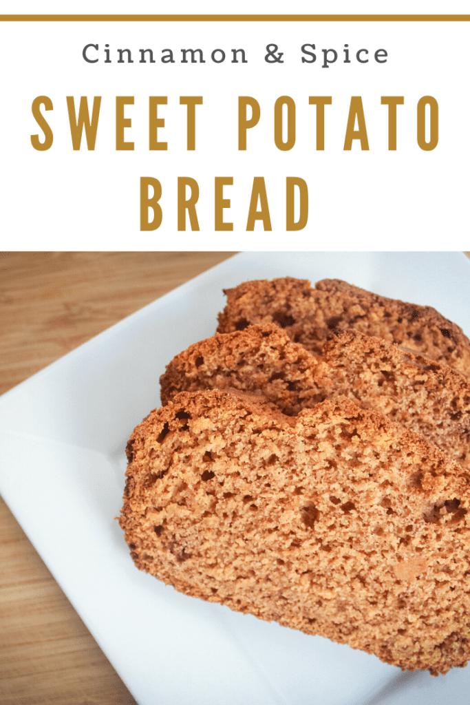 Sweet potato bread on white plate