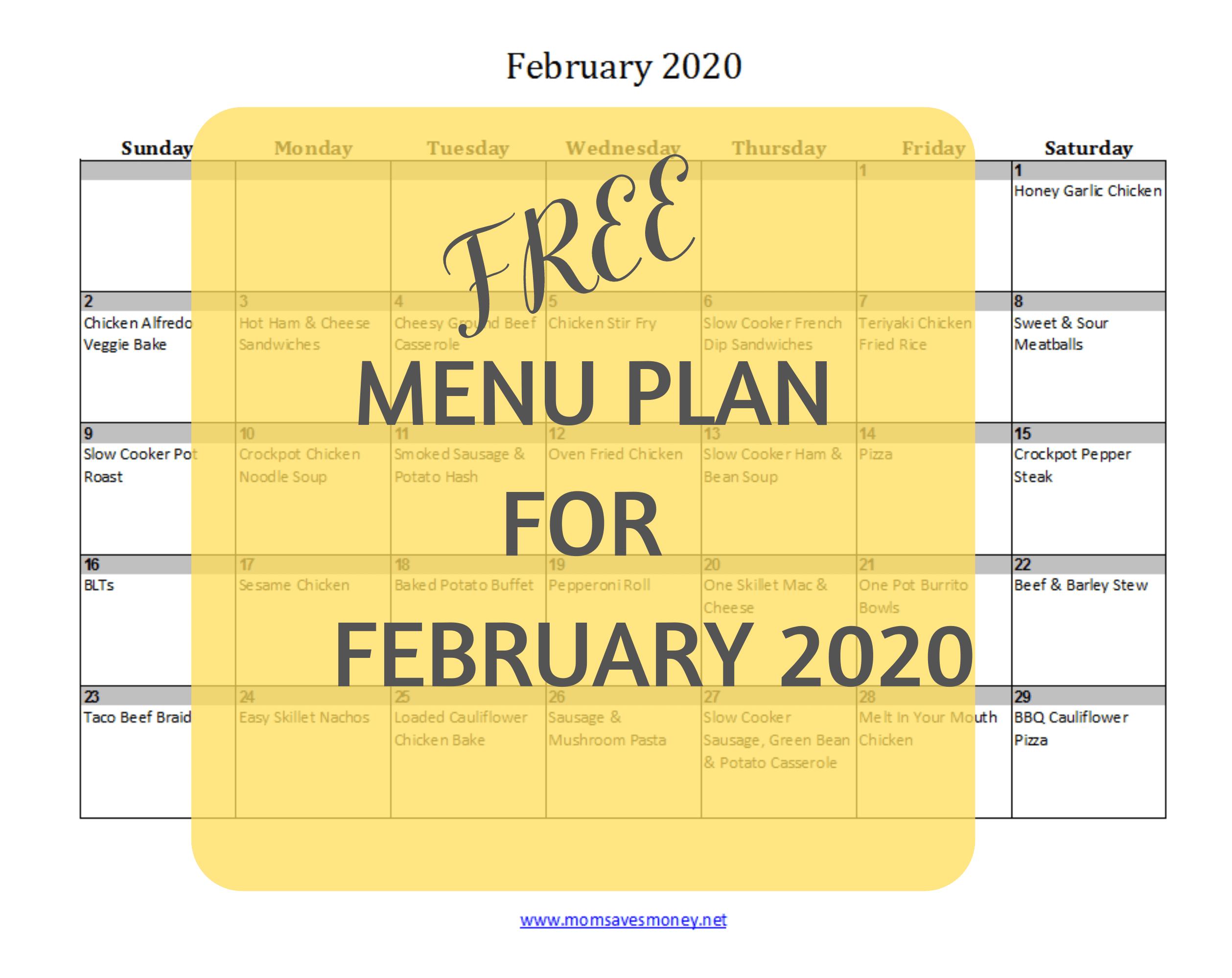 free menu plan for February 2020