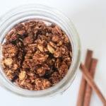 cinnamon maple granola in a jar