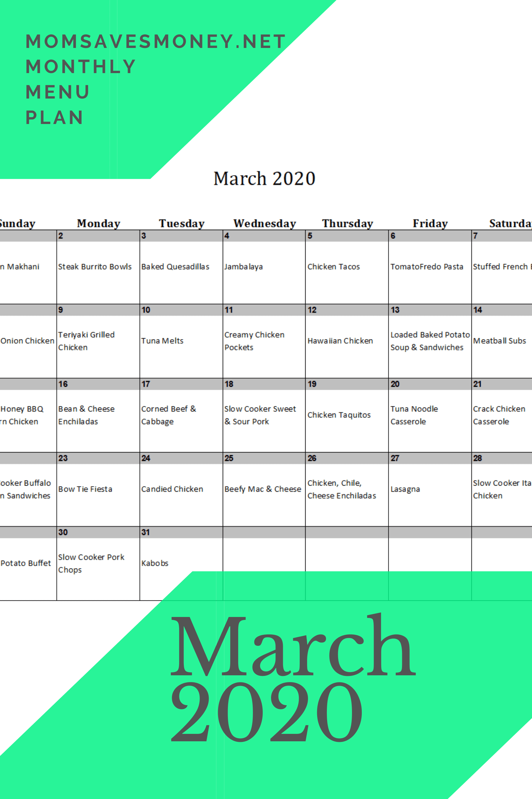March 2020 meal plan calendar