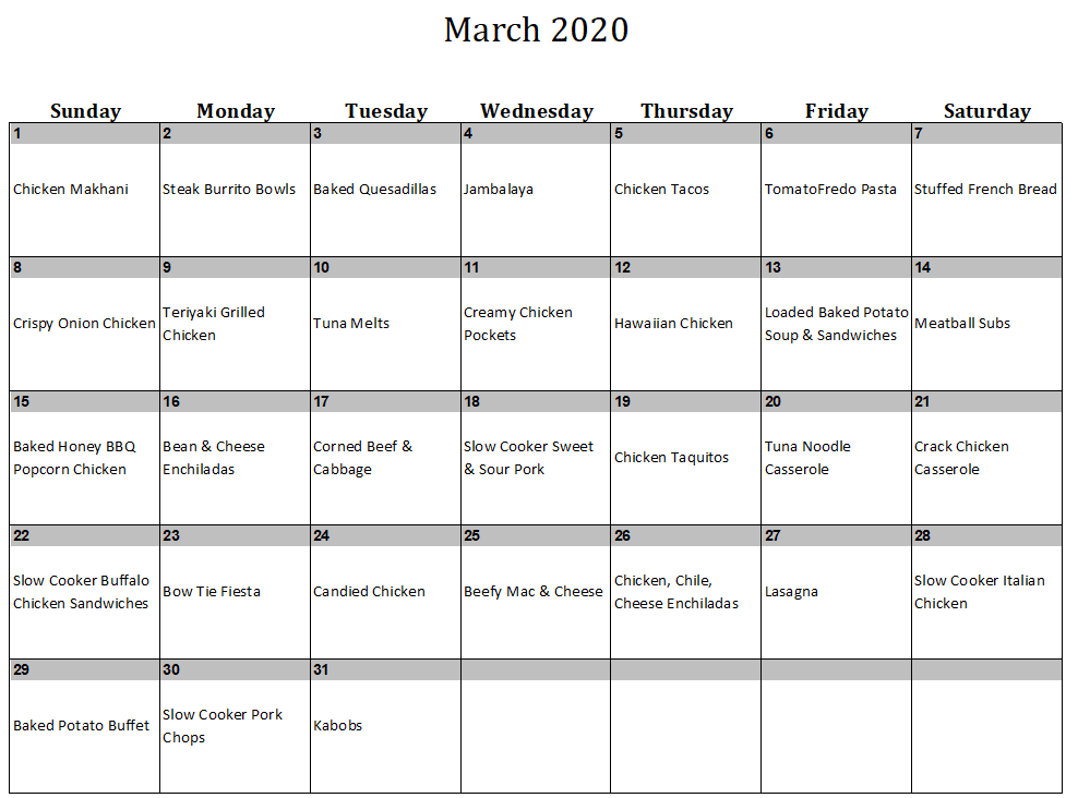 March 2020 Menu Plan