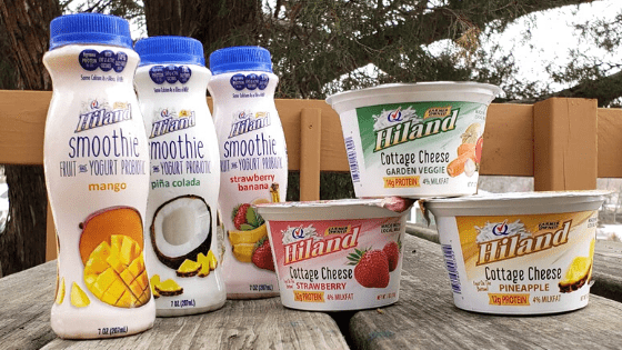 hiland dairy cottage cheese and smoothies on a table
