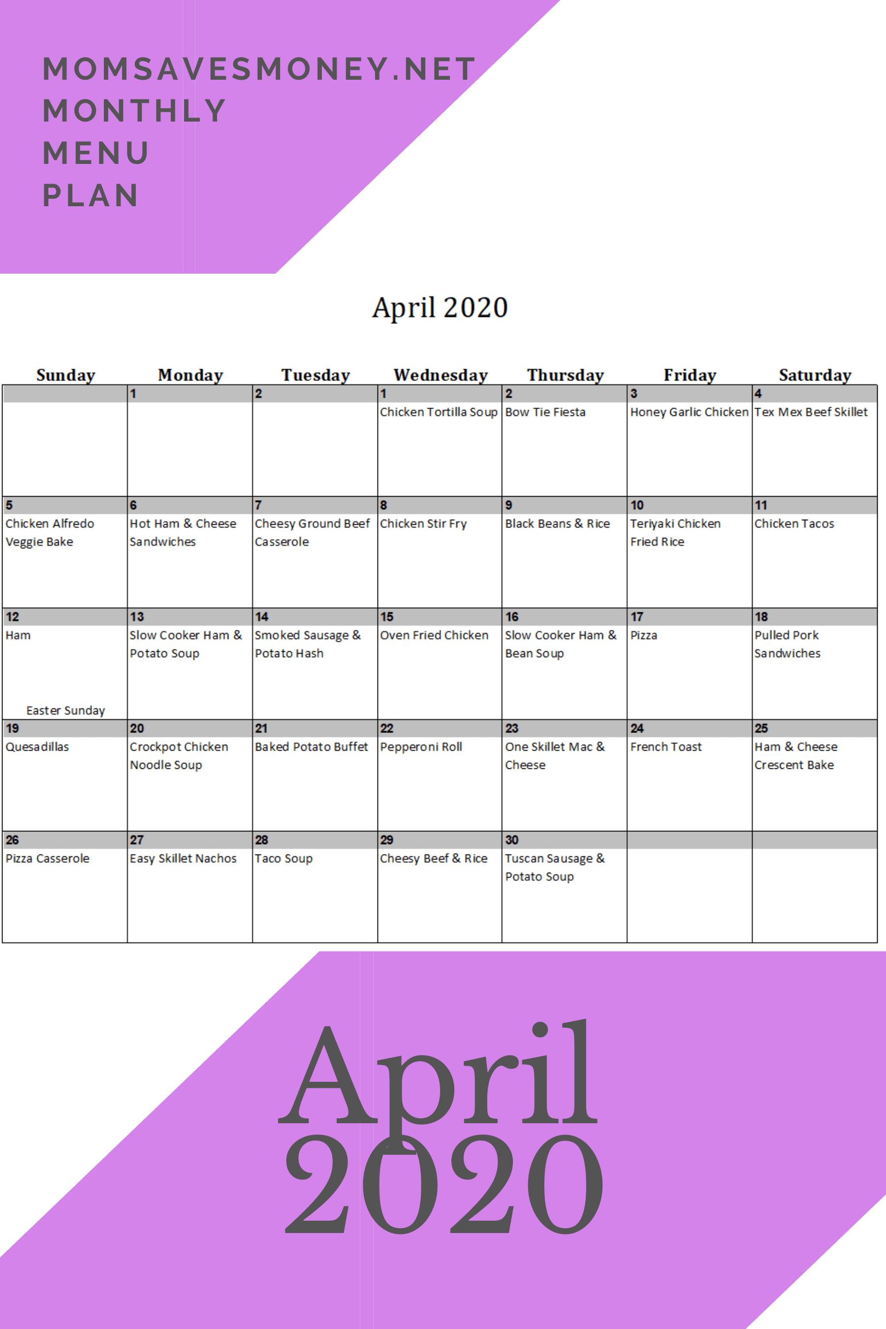 April 2020 meal plan calendar