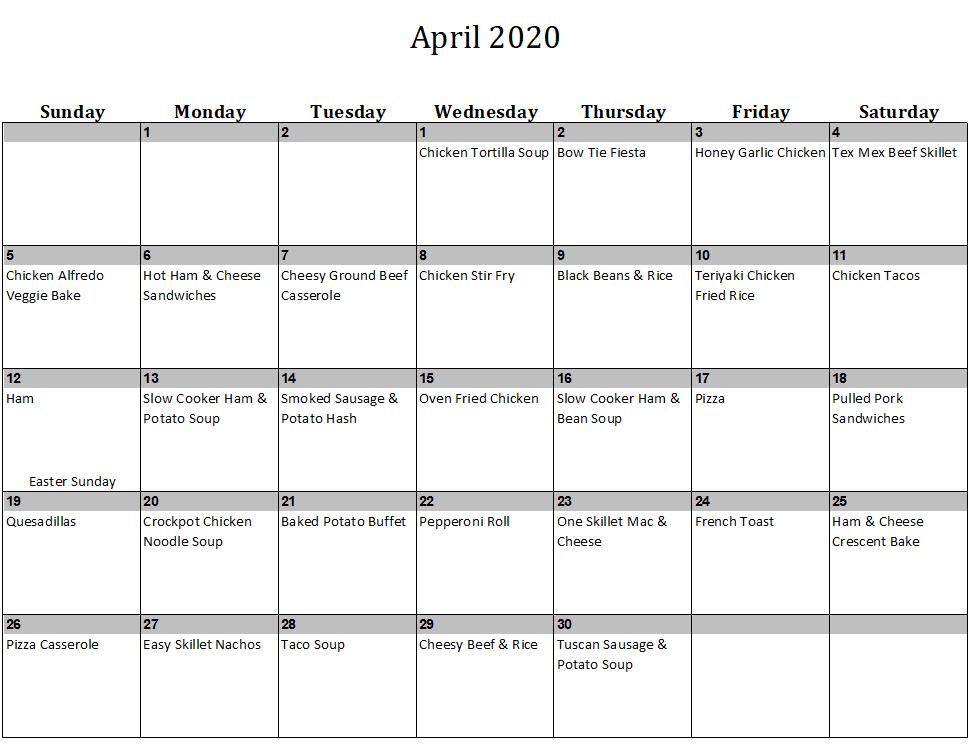 April 2020 Menu Plan