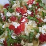tomato basil pasta in bowl