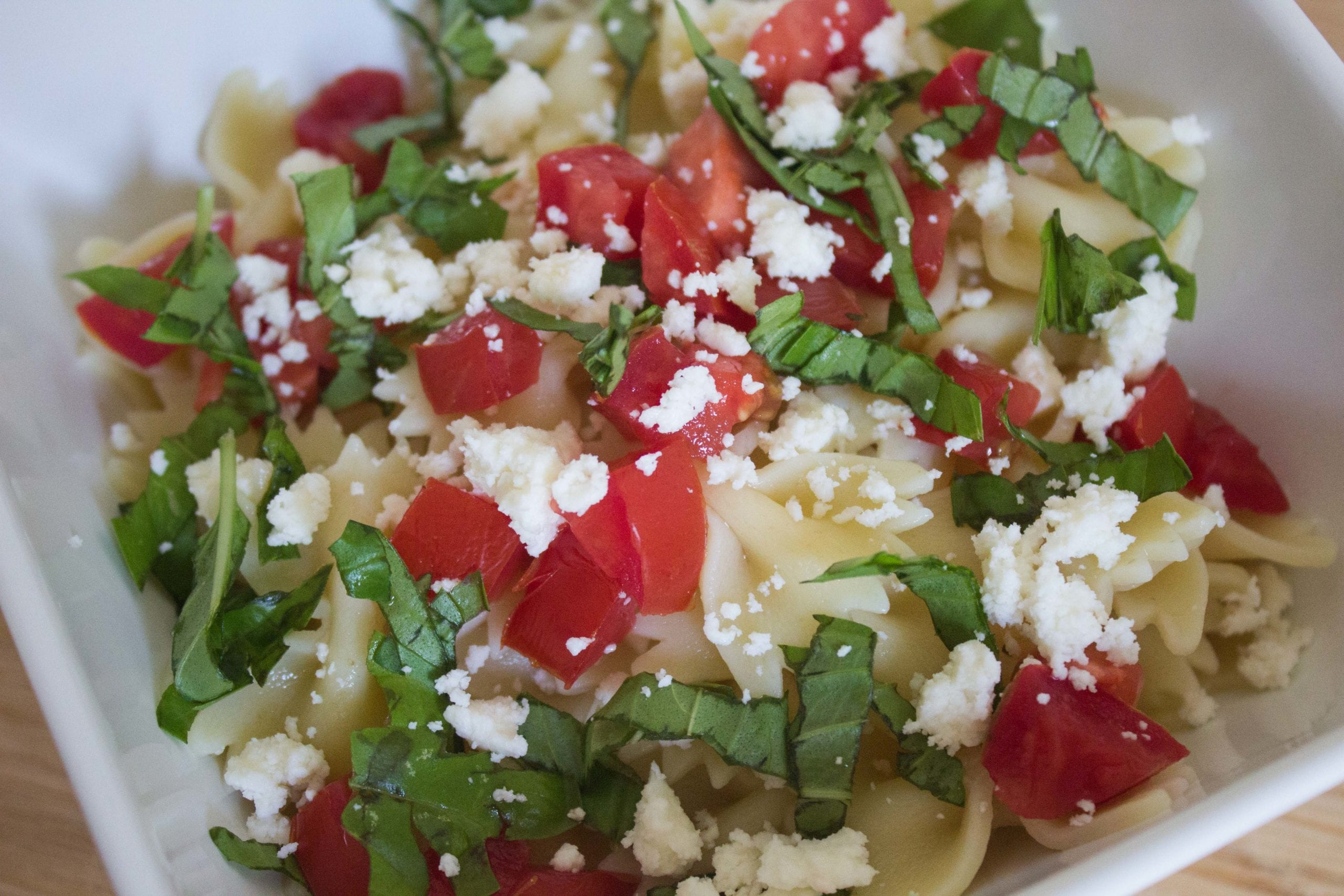 tomato basil pasta in bowl