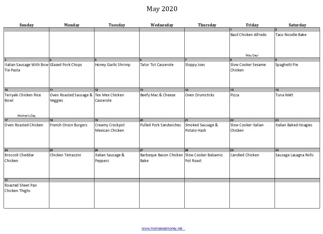 May 2020 Menu Plan