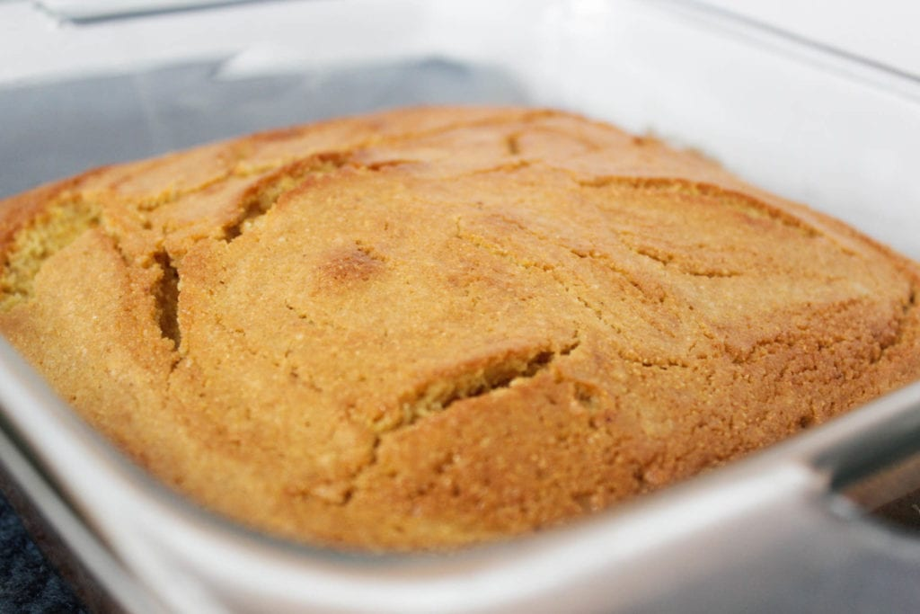 cornbread in pan