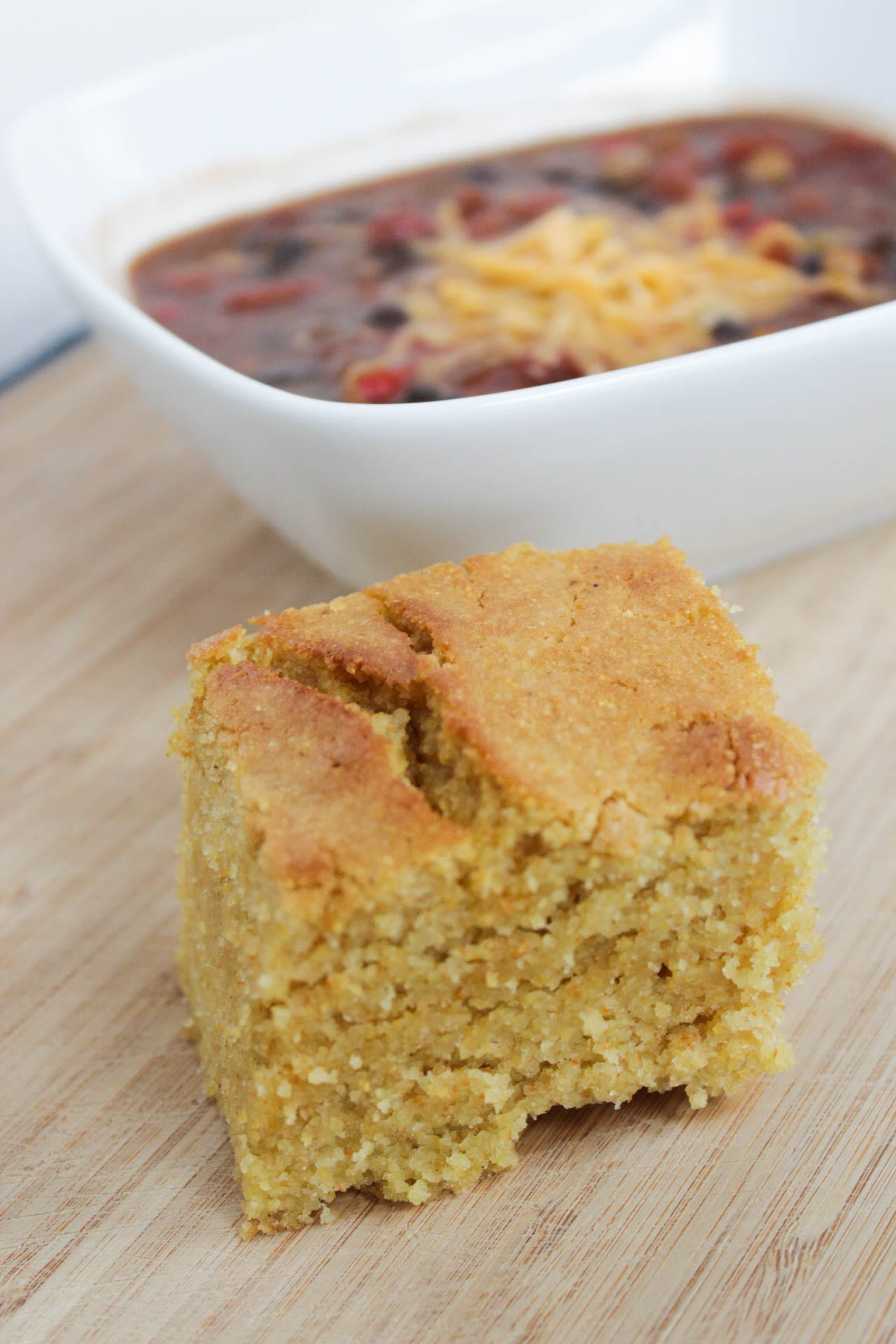 Cornbread with bowl of chili