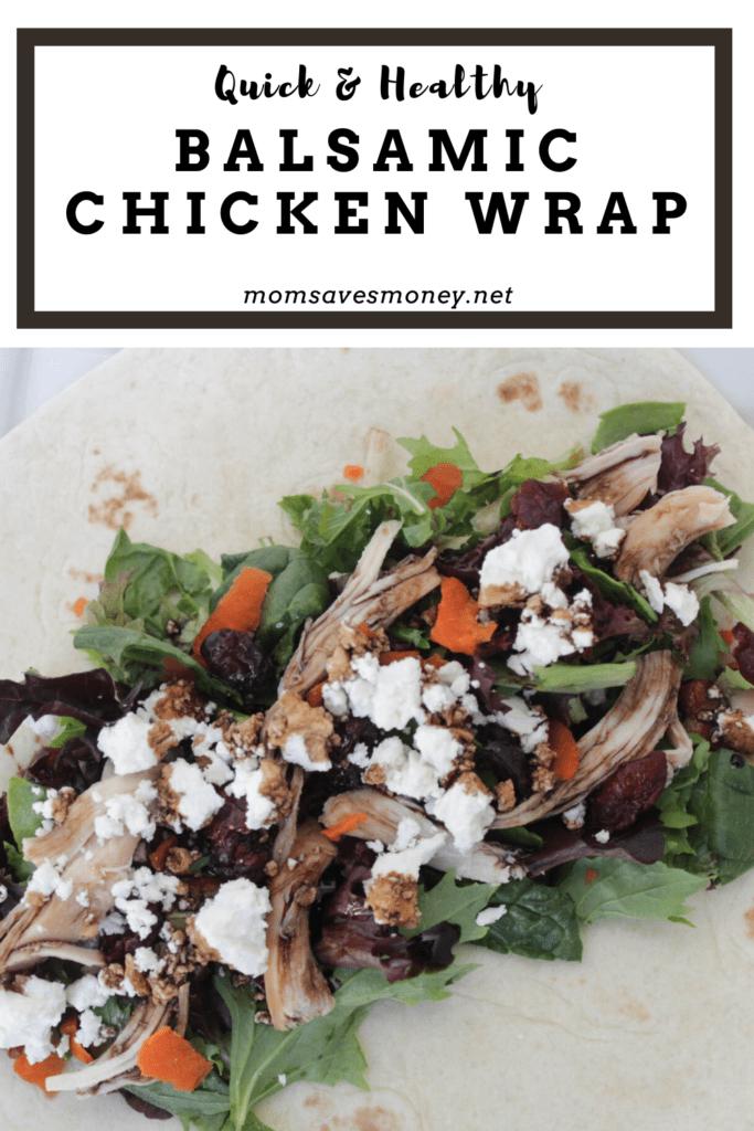 Chicken, greens, goat cheese and balsmic glaze in a tortilla wrap