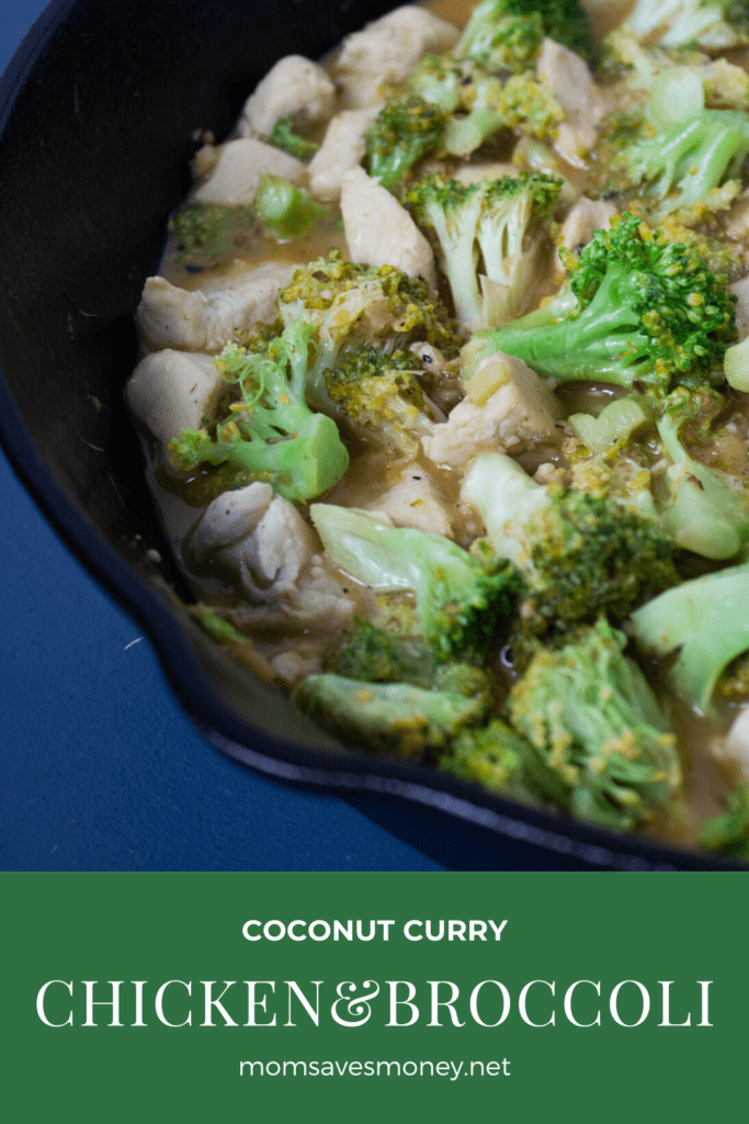 coconut curry chicken and brocolli in skillet