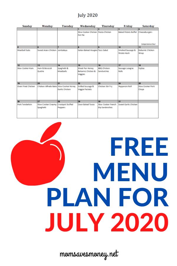 July 2020 Menu Plan