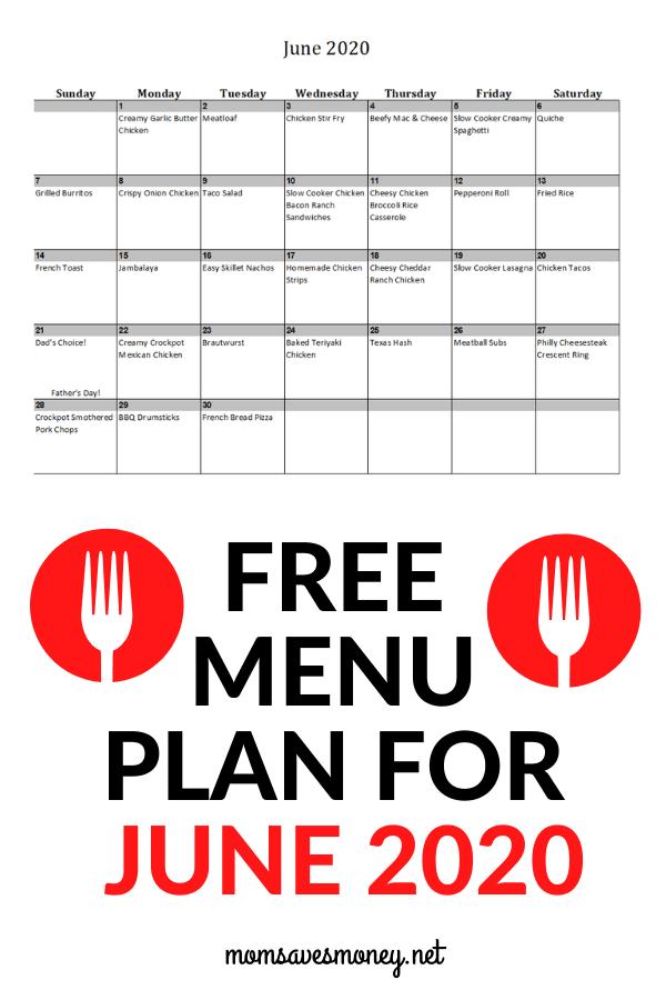 June 2020 meal plan calendar