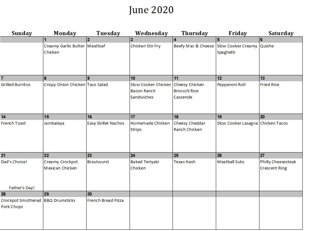 June 2020 Menu Plan