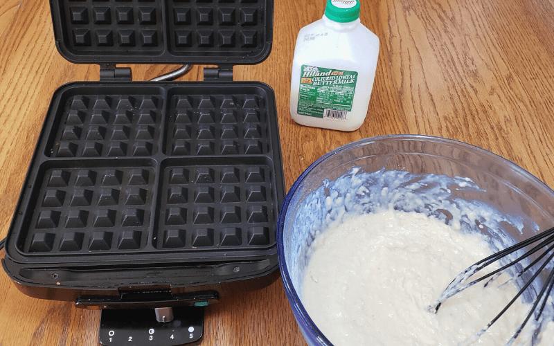 Buttermilk waffle batter and waffle iron