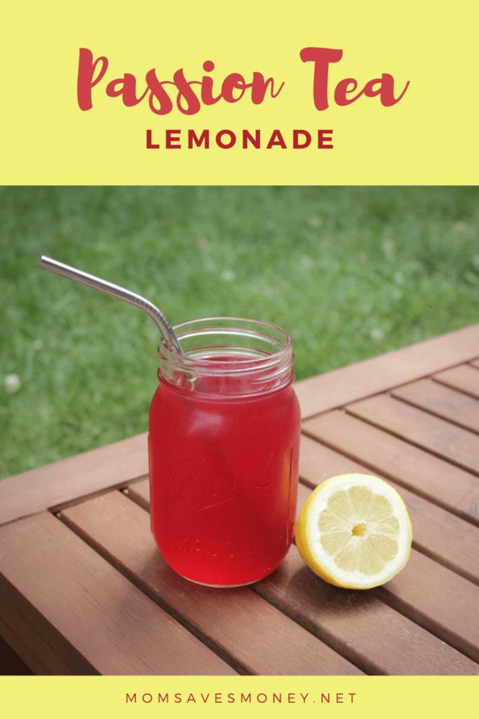 Passion tea lemonade in ball jar