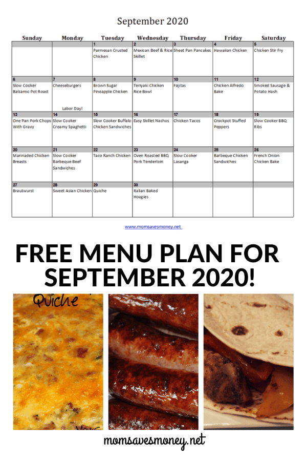 September 2020 Menu Plan