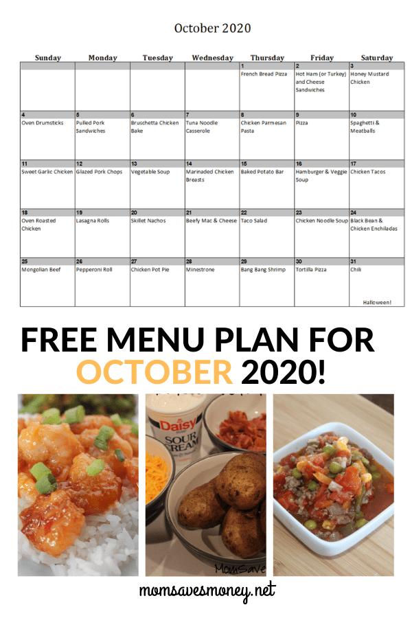 October 2020 Menu Plan