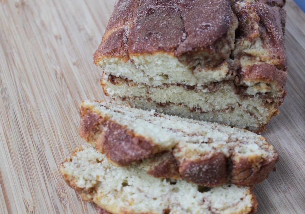 cinnamon loaf sliced with cinnamon swirl