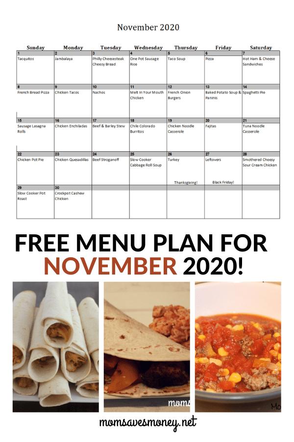 November 2020 Menu Plan
