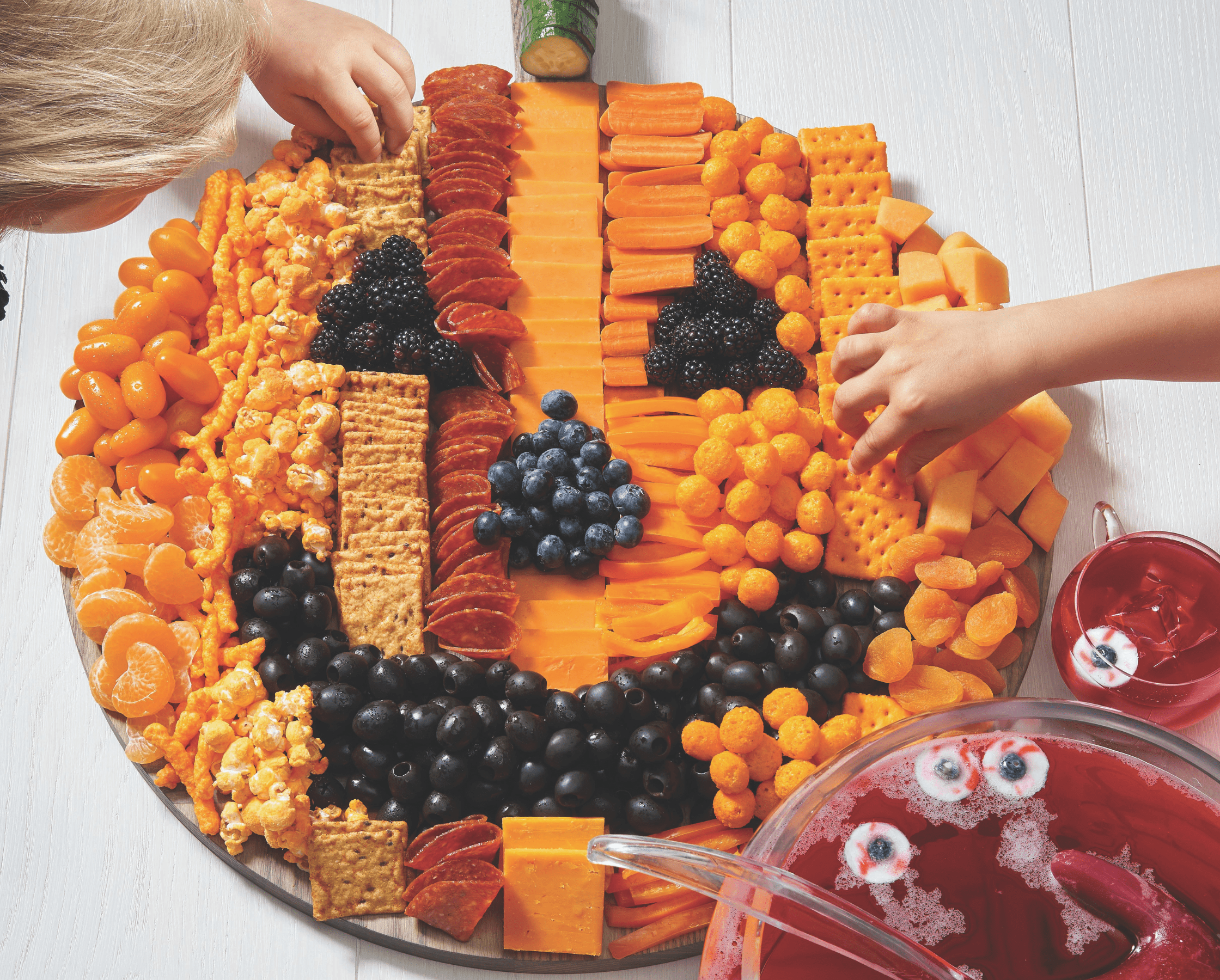 Jack o lantern meat and cheese tray