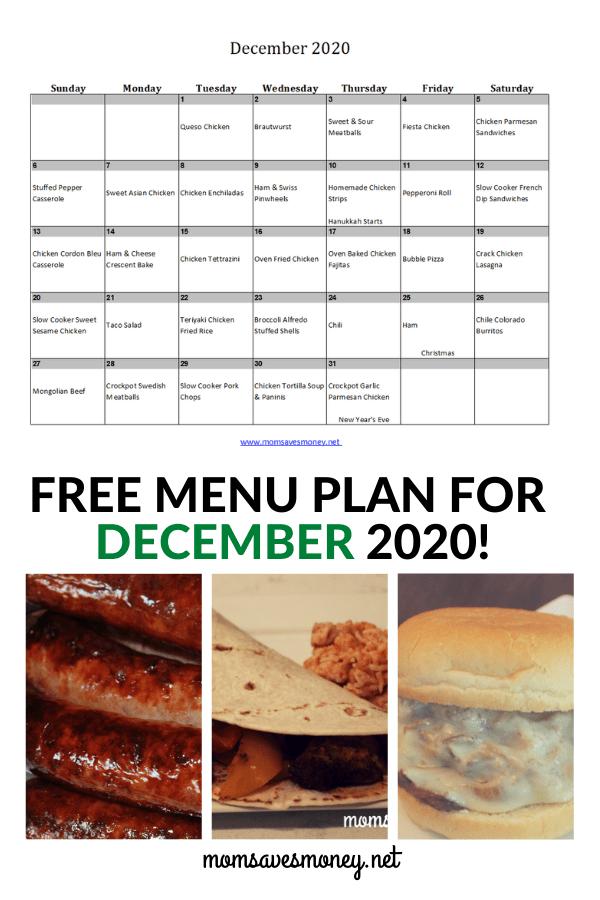 December 2020 Menu Plan