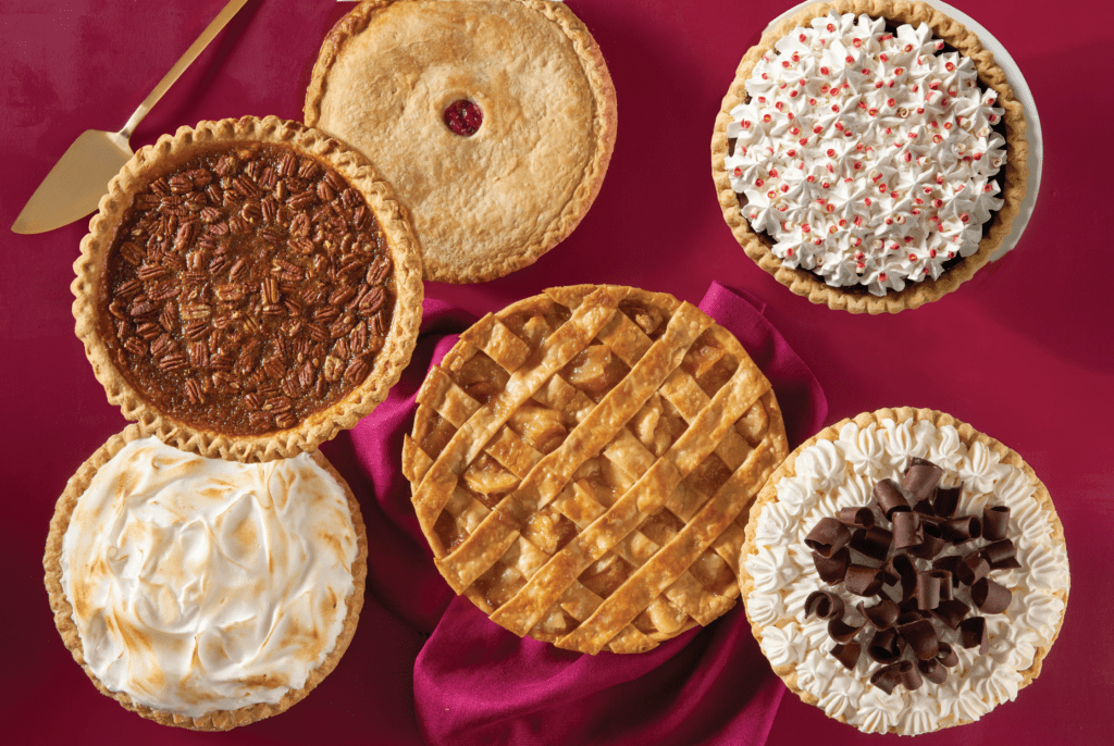 5 types of pies on Thanksgiving tablecloth