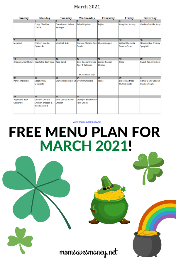 Monthly Menu Plan for March 2021