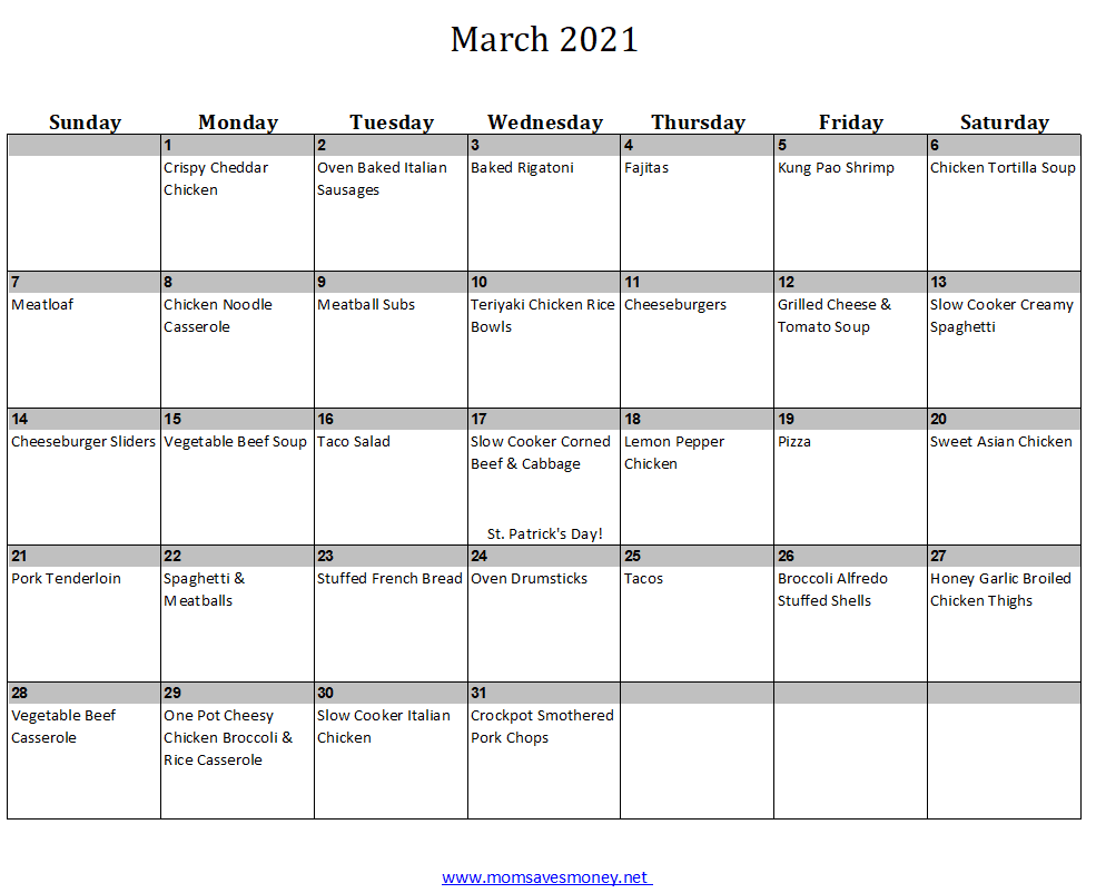 Meal plan for March 2021 with 31 easy, family-friendly recipes and printable meal plan