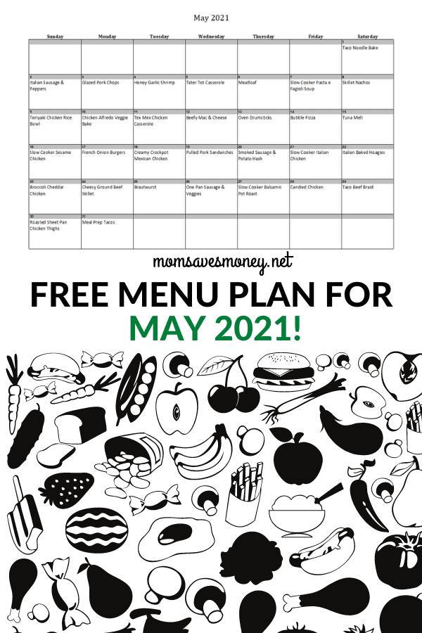 Monthly Menu Plan for May 2021