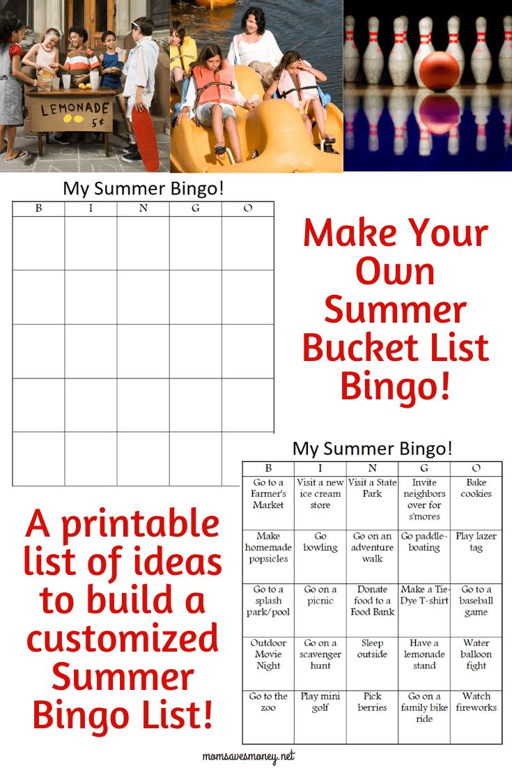 summer fun bingo cards