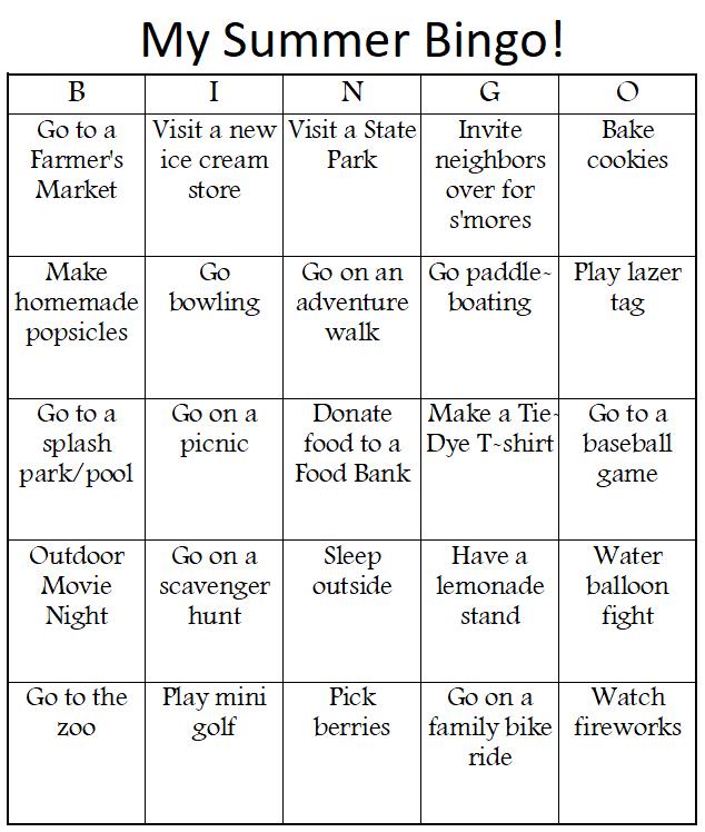 DIY Summer Bucket List Bingo premade Bingo card