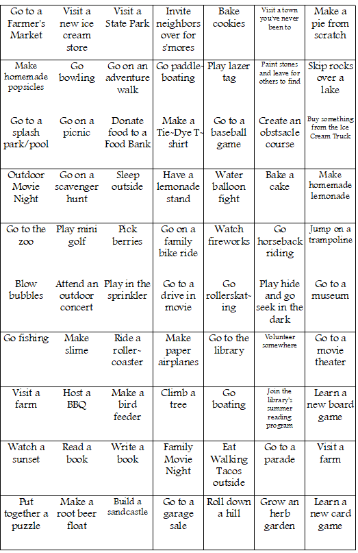 DIY Summer Bucket List Bingo Activity ideas