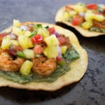 Spicy shrimp tostadas with pineapple salsa and guacamole