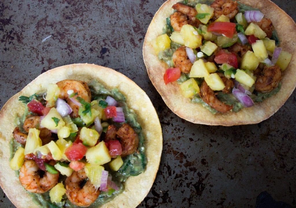 2 Spicy Hawaiian shrimp tostadas