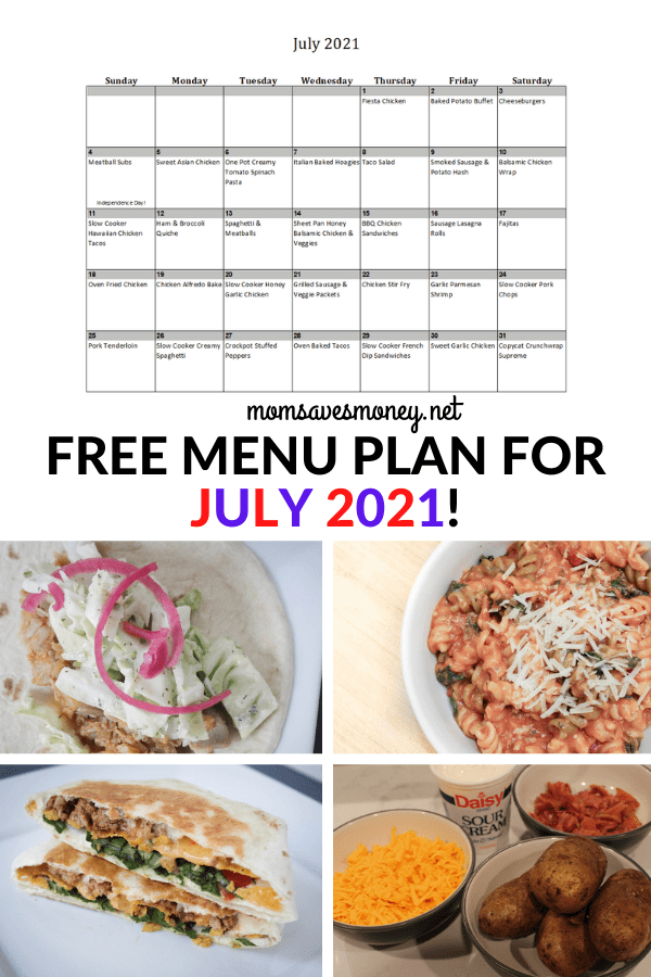Monthly Menu Plan for July 2021