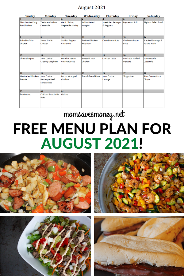 Monthly Menu Plan for August 2021