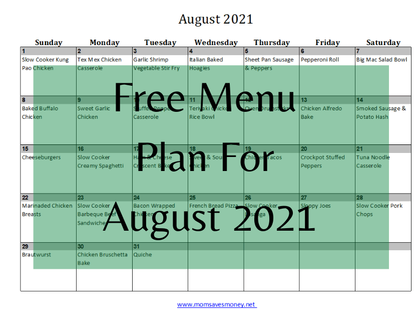 free menu plan for august 2021 with calendar