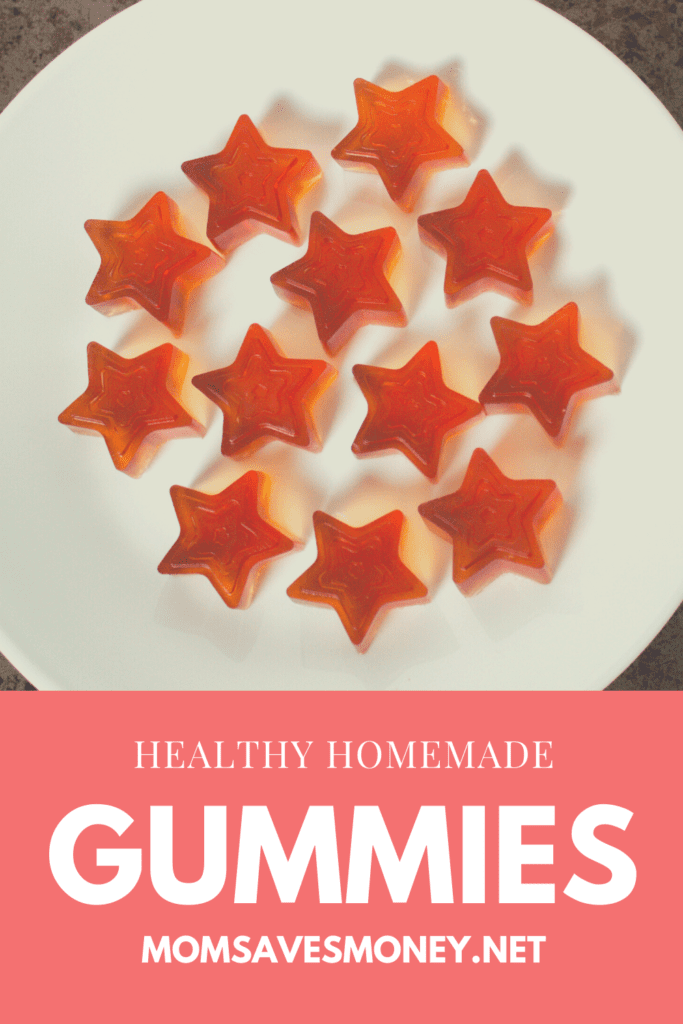 Healthy homemade star-shaped gummies on white plate