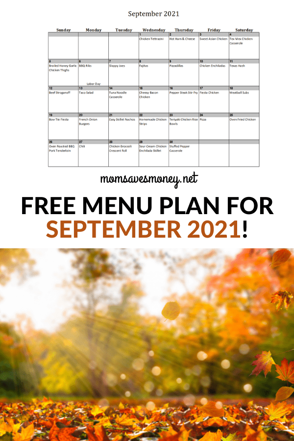 Monthly Menu Plan for September 2021
