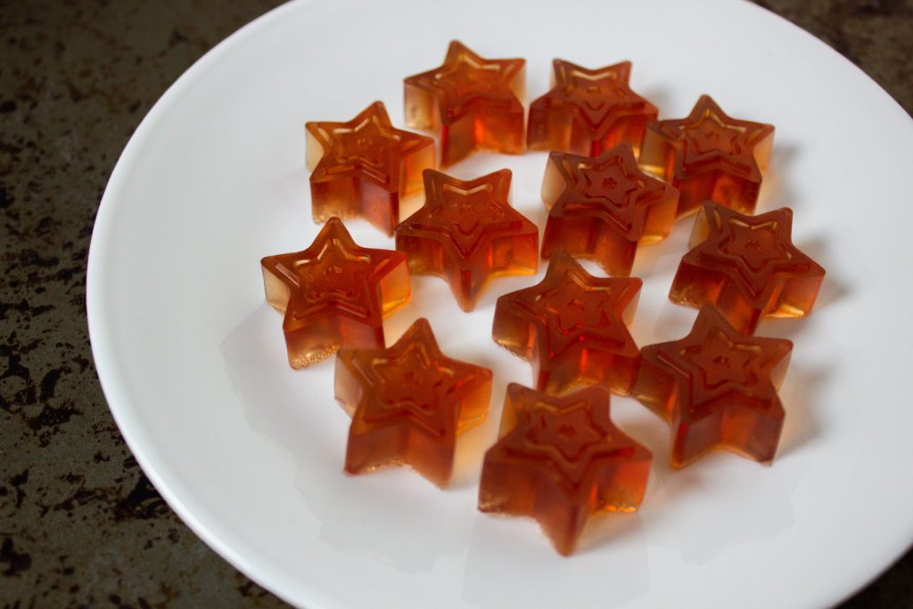 White plate with star-shaped gummy candy