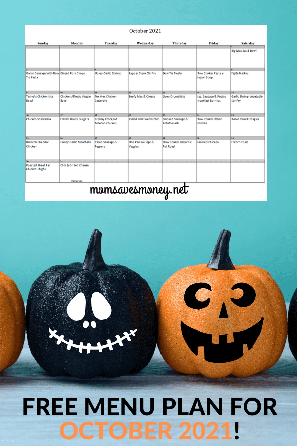 Monthly Menu Plan for October 2021