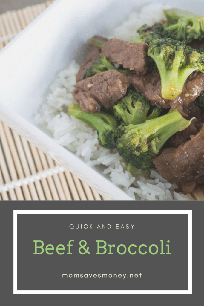 Quick and easy beef and broccoli served over white rice in a bowl