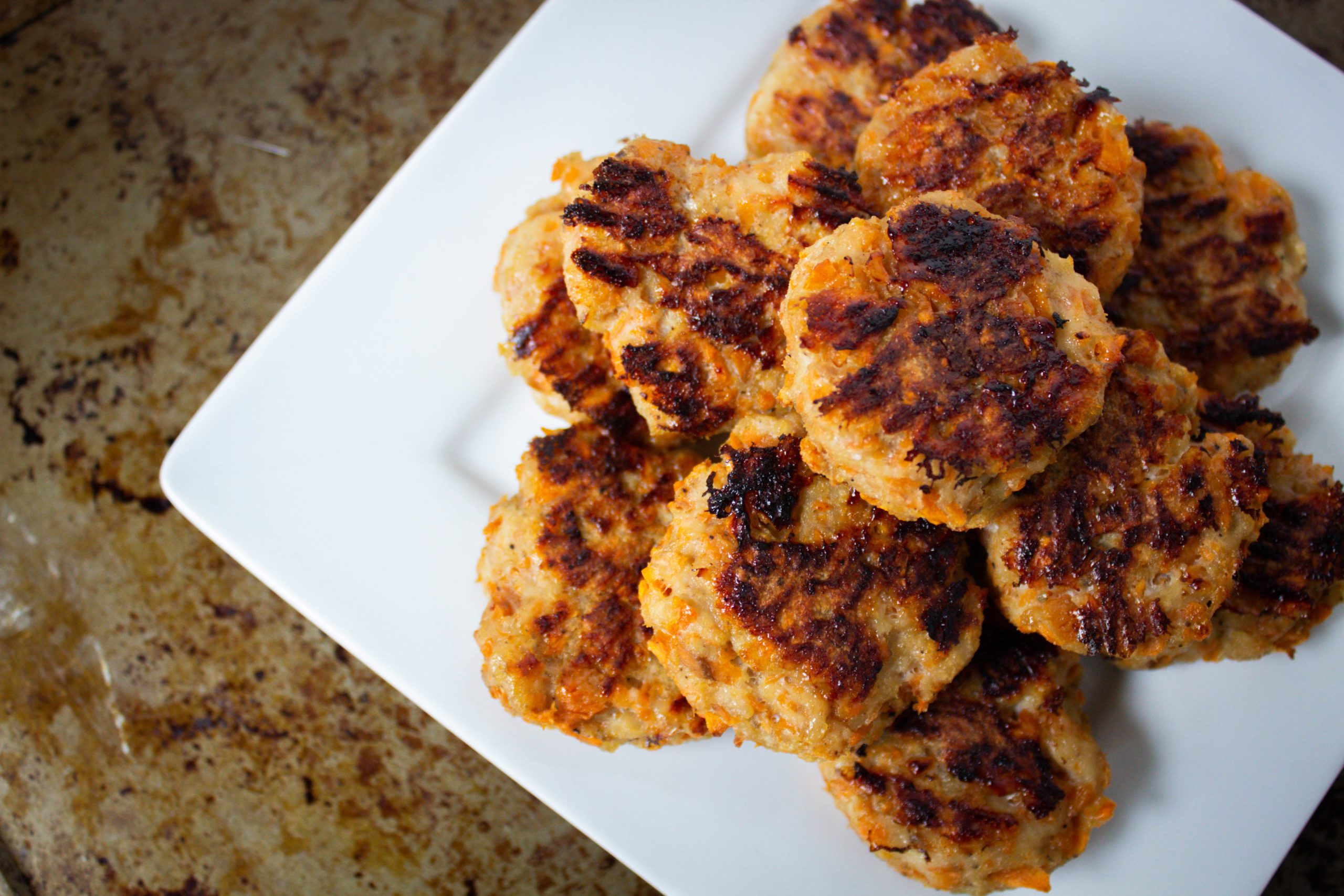 Plate of sweet potato chicken poppers